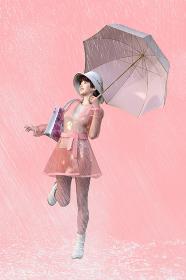桃色の背景で雨の中レインコートを着て傘を差す明るい表情の女性