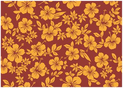 ハイビスカス柄の背景イラスト|テキスタイル 総柄・シームレスパターン