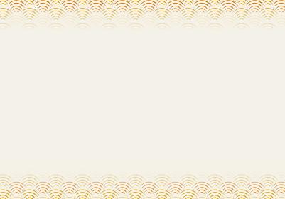 和風和柄のイラスト背景|日本の伝統模様 青海波(せいがいは)文様のフレーム 横位置黄色系