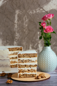 slice of cake with white cream and nuts , Moscow, Moscow, Russia