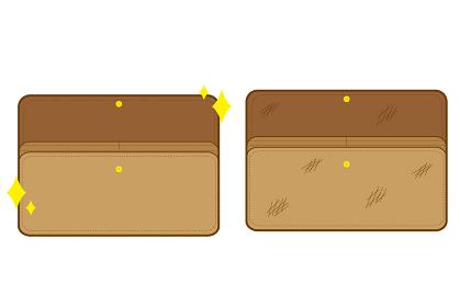 綺麗なお財布と汚いお財布の素材セット
