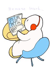 リモートワークに勤しむもっちりとした人のイラスト