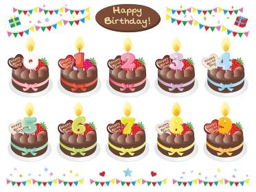 チョコレートのお誕生日ケーキと数字の蝋燭のセットイラスト