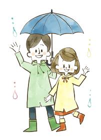 雨の日の夫婦 水彩