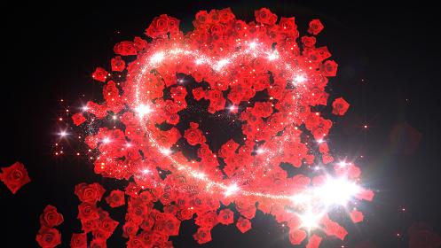 ハート バラ 花 フラワー キラキラ スパーク パーティクル 花火 3D イラスト 背景 バック