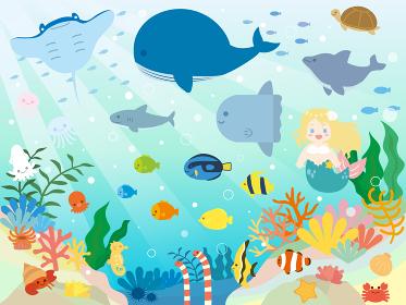 かわいい海の生き物のイラスト