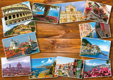 Collage from photos of Italy on wooden background