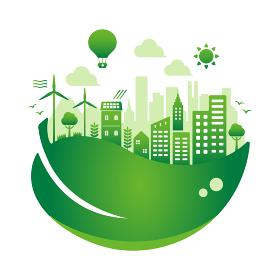 エコ・エコロジー・自然・環境保護に配慮した都市生活イメージ 円形バナーイラスト