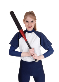 Woman holding her bat in softball