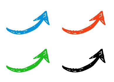 手描きの矢印 カラフルセット