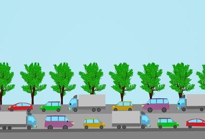 爽やかな夏の日の渋滞、3Dレンダリング