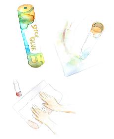 スティックのりの水彩画