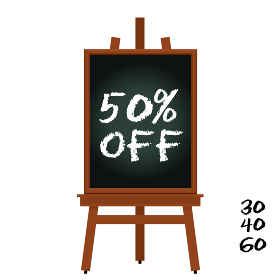 50%オフと書かれたボードとイーゼルのイラストセット 宣伝・販促バナー用イラスト