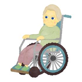 車いすに座っているかわいい白人のおばあちゃんのイラスト