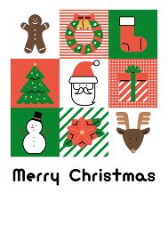 クリスマスカード テンプレート(フラットアイコン デザイン)