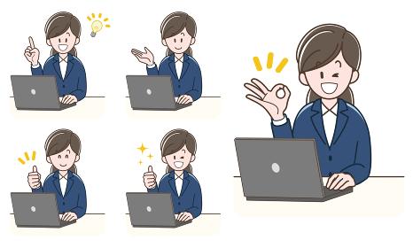 ノートパソコンで仕事をするスーツの女性_セット