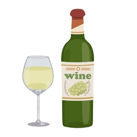 白ワイン ボトル グラス イラスト