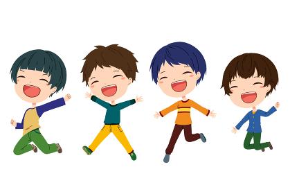 ジャンプしている笑顔の男の子たちのイラスト
