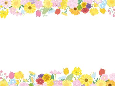 花 フラワー 春の花 フレーム 枠 イラスト素材