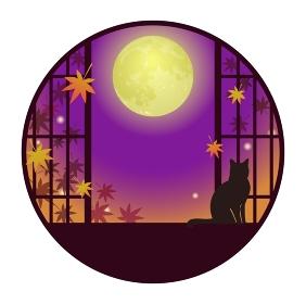 猫が佇む和風窓 満月と紅葉