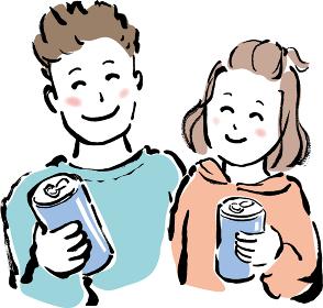 手描きの缶ビールを持った笑顔の若い夫婦の筆描きイラスト素材 仲良しカップルの飲み物を持ったイラスト