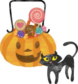 ハローウィン ジャックオランタン 秋 かぼちゃ お菓子 黒猫