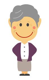 デフォルメ・二頭身 日本人 老人・シニア・おばあさん 全身人物イラスト