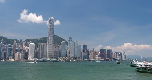 Victoria harbor, Hong Kong, 31 May 2018:- Hong Kong skyline