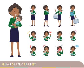 赤ちゃんの保護・世話をする黒人ビジネス女性のセット