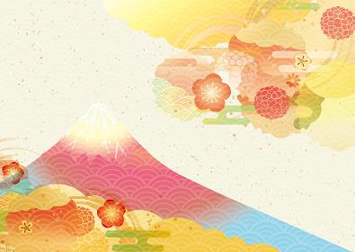 美しい富士山の背景イラスト(正月・新年)