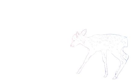 写実的な動物イラスト、虹色の小鹿の歩く姿