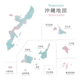 水彩風 沖縄県地図