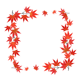 紅葉したモミジの枝葉のフレーム(正方形/水彩画風加工)