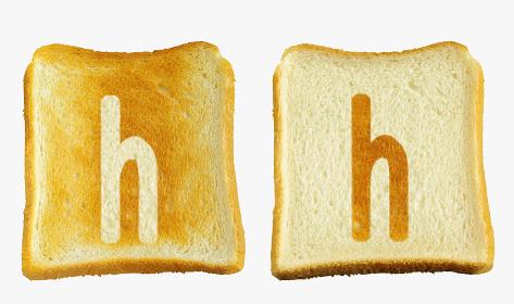 食パンに焼印風のアルファベットの小文字のh