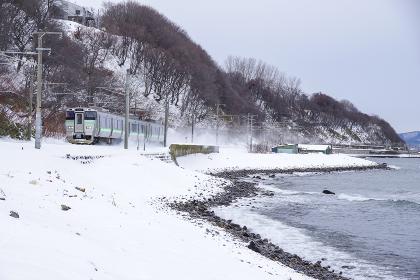 雪景色の海岸沿いを走る電車