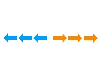 左右、3つに並んだ青と赤の矢印