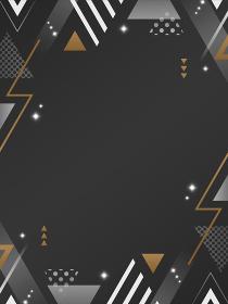 三角形の装飾フレーム・背景素材/黒・白・金/縦向き