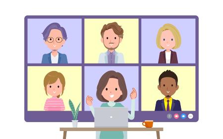 複数人でオンライン会議をしているチュニック中年女性のセット。正面アングル