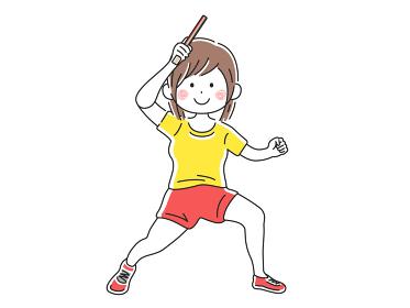 卓球をする女性のイラスト