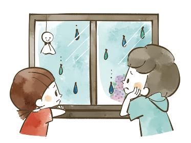 雨の日に残念そうに窓の外を眺める子どもたち 水彩