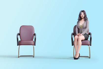 ブルーバックで椅子が2つあり片方に女性社員が1人座る