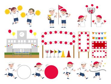 学校 運動会 イラスト セット