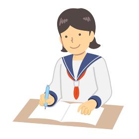 勉強するセーラー服を着た少女イラスト