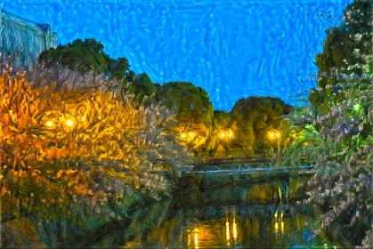 夜桜のライトアップ~海老川物語