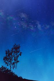 天の川と夏の大三角の風景イラスト 水彩 七夕 短冊 背景素材 縦