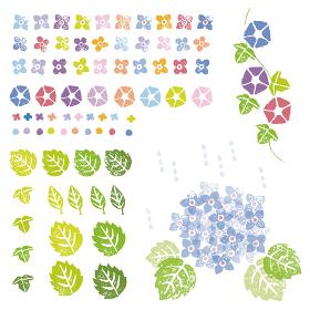 スタンプ風 花と植物のグラフィック素材