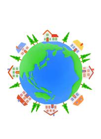 地球と家並み