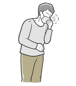 マスクを着用し、口を手で押さえて咳をする長袖を着た中年男性