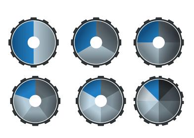 円グラフアイコンセット歯車ギアのインフォグラフィックスイラスト アイコン|コンセプト工業産業ビジネス