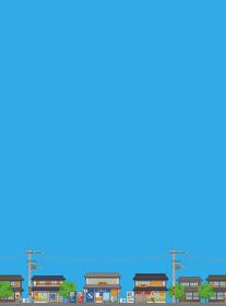 日本の夏の街並みの風景ベクターイラスト縦(背景、コピースペース、青空)